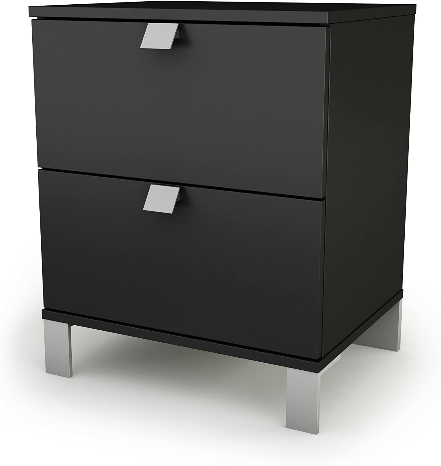 South Shore Spark 2-Drawer Nightstand-Pure Black, Night Table