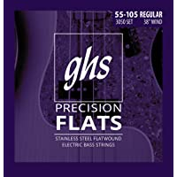 GHS Strings Electric Bass Flatwound Set (Medium Stainless Steel, 4-String, Long Scale)