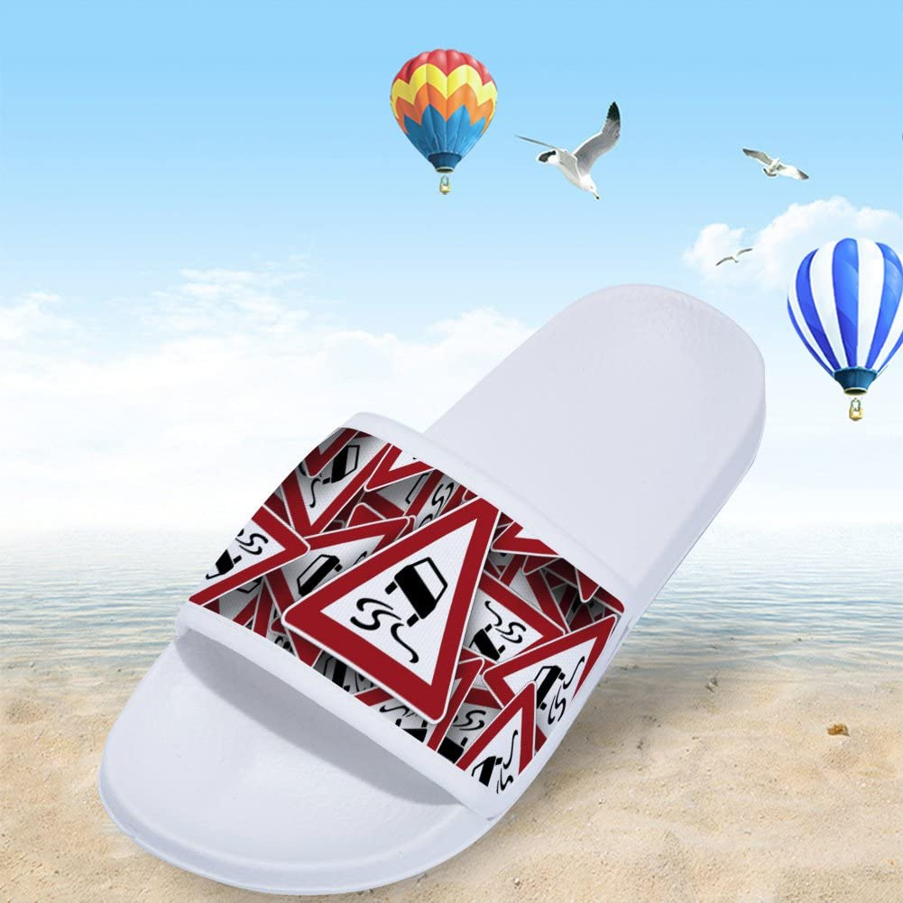 Red Traffic Sign Slippers Pattern Non-Slip Quick-Drying Slippers for Mens