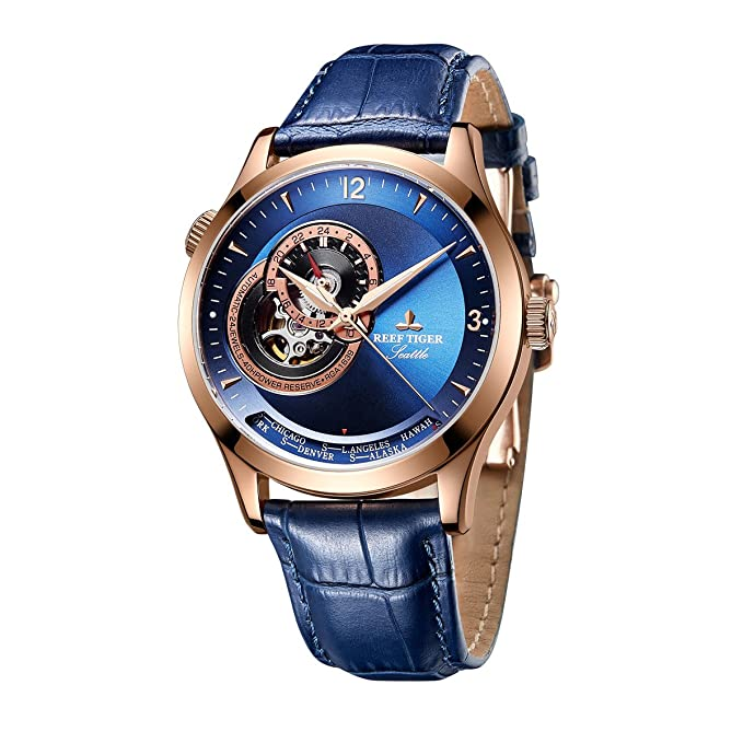 Amazon.com: Reef Tiger Mens Casual Watches Genuine Leather Strap Automatic Watches Blue Dial RGA1693 … (RGA1693-PLL): Watches