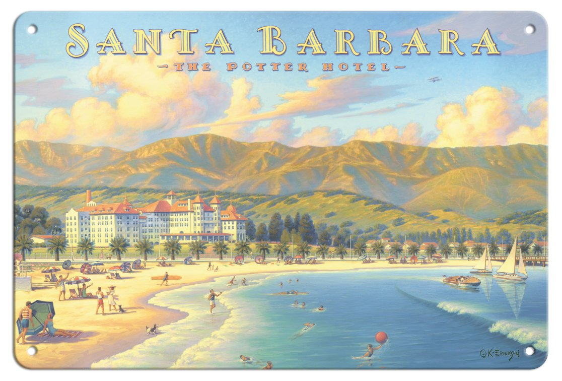 Pacifica Island Art 8in x 12in Vintage Tin Sign - Santa Barbara, California - The Potter Hotel by Kerne Erickson