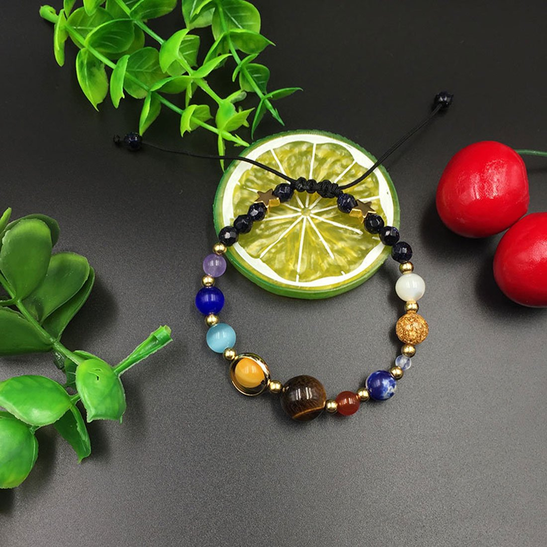 sdsruioo Unisex Handmade Solar System Bracelet Universe Galaxy The Nine Planets Guardian Star Natural Stone Beads Bracelets Bangles for Women and Men Gift FX-1Z82-7SS3