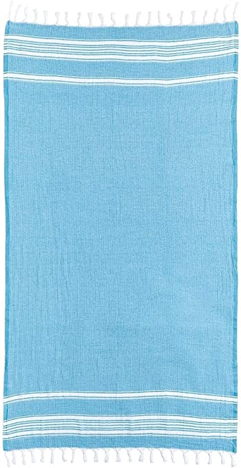 Apollo Towels Turkish Rugby Turquoise and White Stripes Beach Towel 100 Percent Cotton 30x60 inches