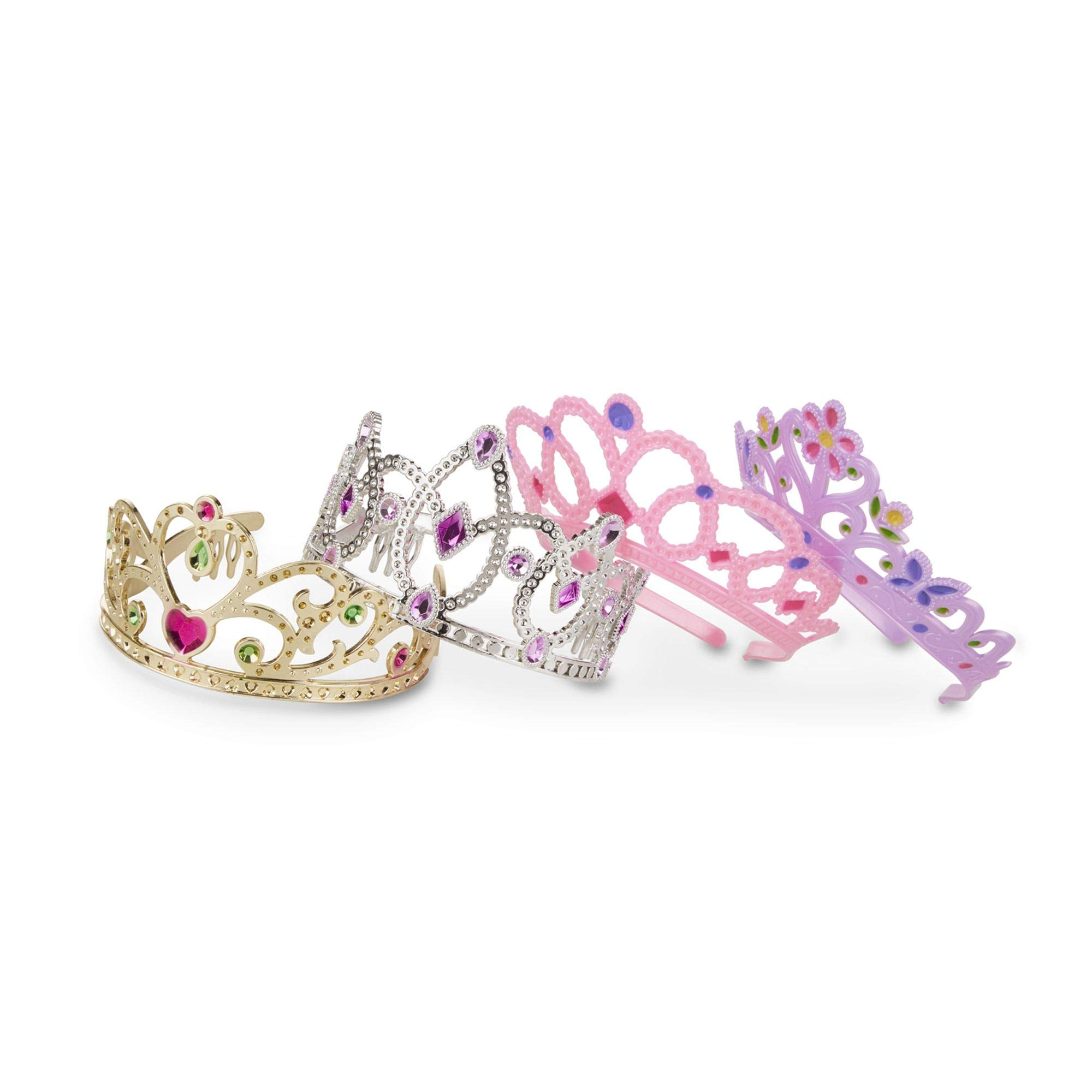 """Melissa & Doug Role-Play Collection Crown Jewels Tiaras, Pretend Play, Durable Construction, 4 Dress-Up Tiaras and Crowns, 12"""" H x 8"""" W x 5"""" L"""