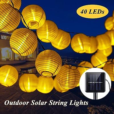 SOLMORE 7.5M Guirlande Lanterne Solaire Extérieur 40 LED 2 ...