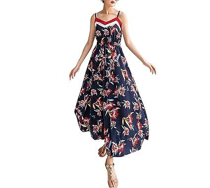 6e11ec5caf1 FJ-Direct Summer Bench Maxi Spaghetti Strap Floral Print Chiffon Backless  Women Long Sundress Blue