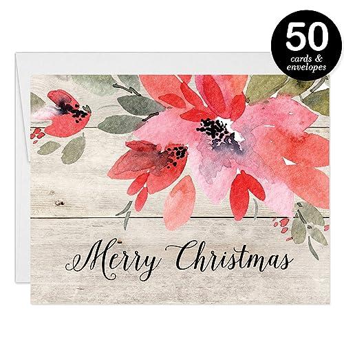 Amazon rustic christmas cards envelopes set of 50 shabby rustic christmas cards envelopes set of 50 shabby chic farmhouse woodgrain folded holiday reheart Gallery