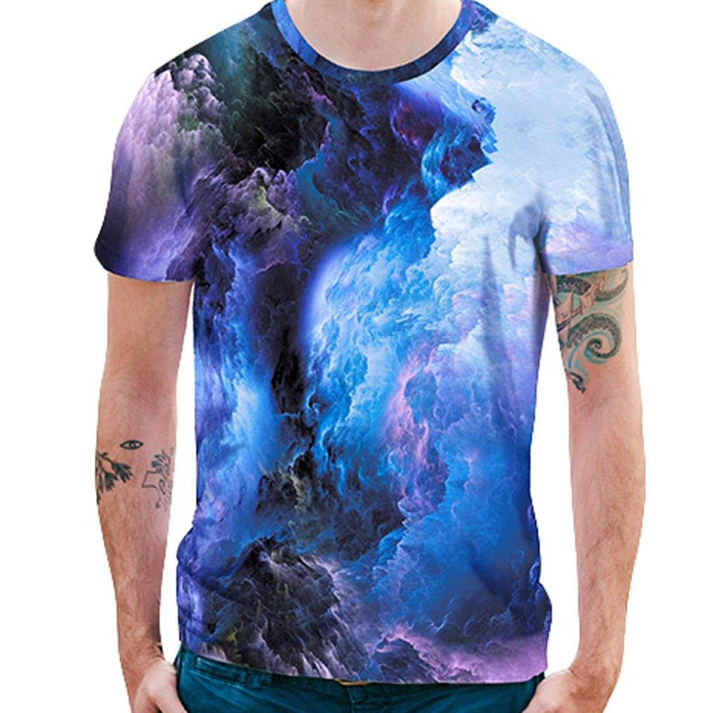 Longra Herren T-Shirt Kurzarmshirt Top Print Shirt Casual Rundhals Basic Oversize Slim Fit T-Shirt Unisex 3D Flockige Wolken Druckten Sommer Beilauml;ufige T-Shirts T-Stuuml;cke  XXL|Blue