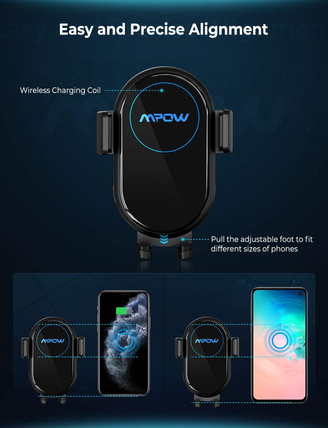 Compatible with iPhone 11//11 Pro//Xs Max//XS//XR//X 10W//7.5W Qi Fast Charging Phone Holder for Car Air Vent and Dashboard Mpow Wireless Car Charger Mount Samsung Galaxy 2-in-1 Auto-Clamping Car Mount
