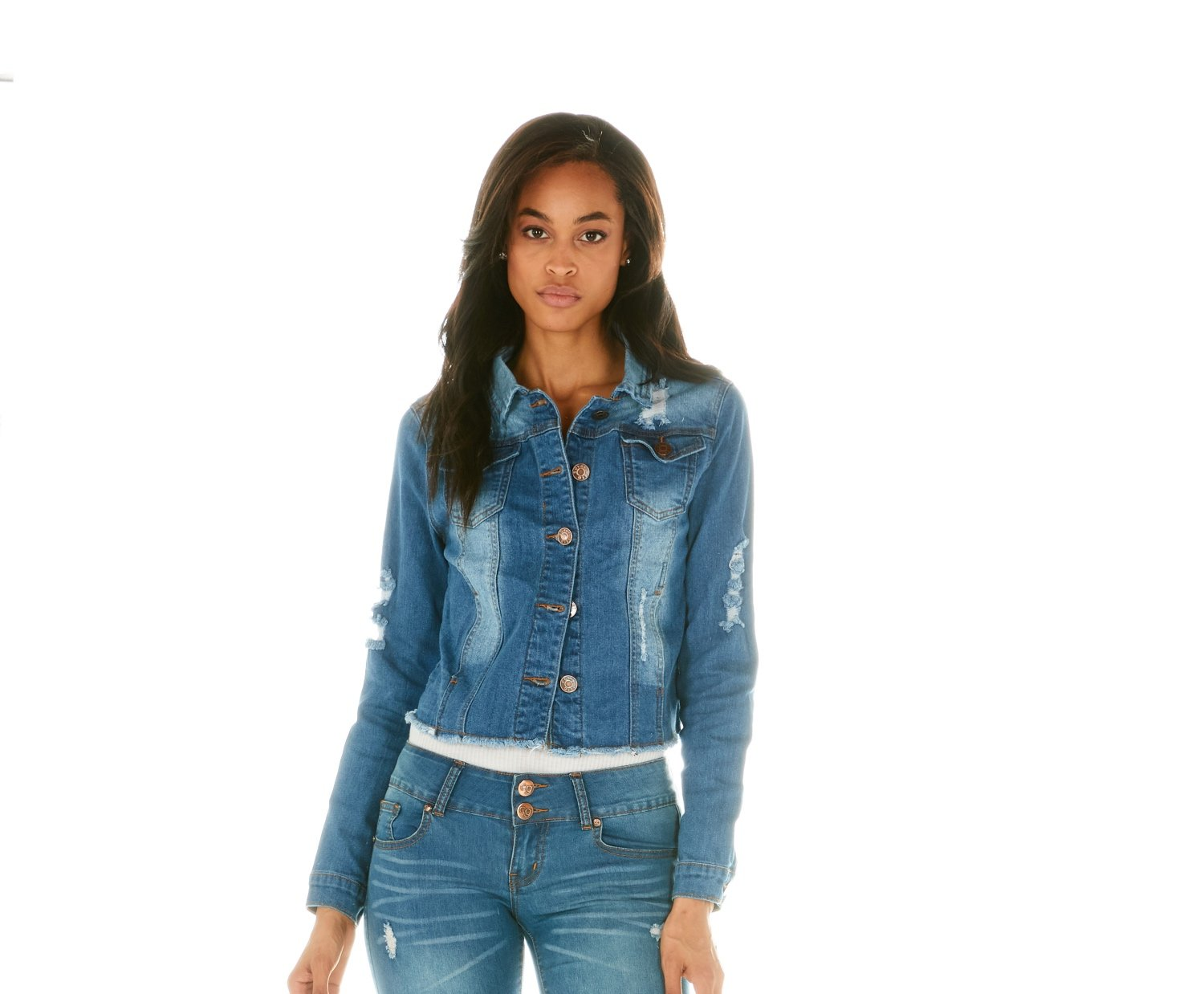 Cover Girl Junior's Womens Jeans Denim Jacket, Distressed wash, Small