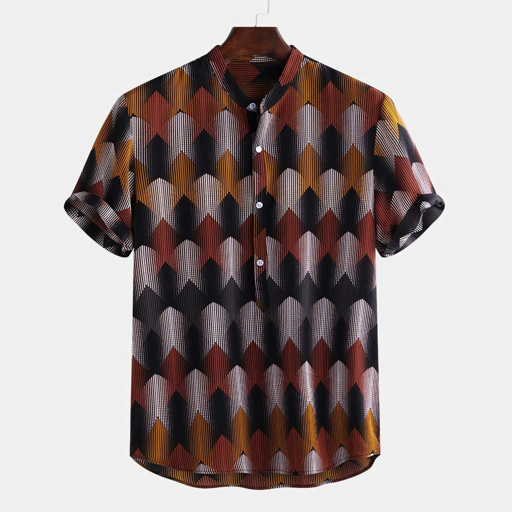 Rosiest Men Short Sleeve Shirt Colorful Stripe Summer Loose Buttons Casual Shirt Top