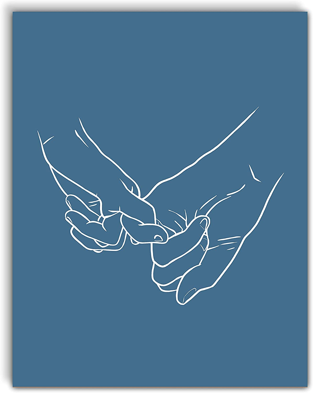 VintBo, Pinky Promise, Minimalist Modern Abstract Art Print Poster, Line Drawing Contemporary Wall Art for Home and Bedroom Decor 11x14 inches, Unframed (Blue)