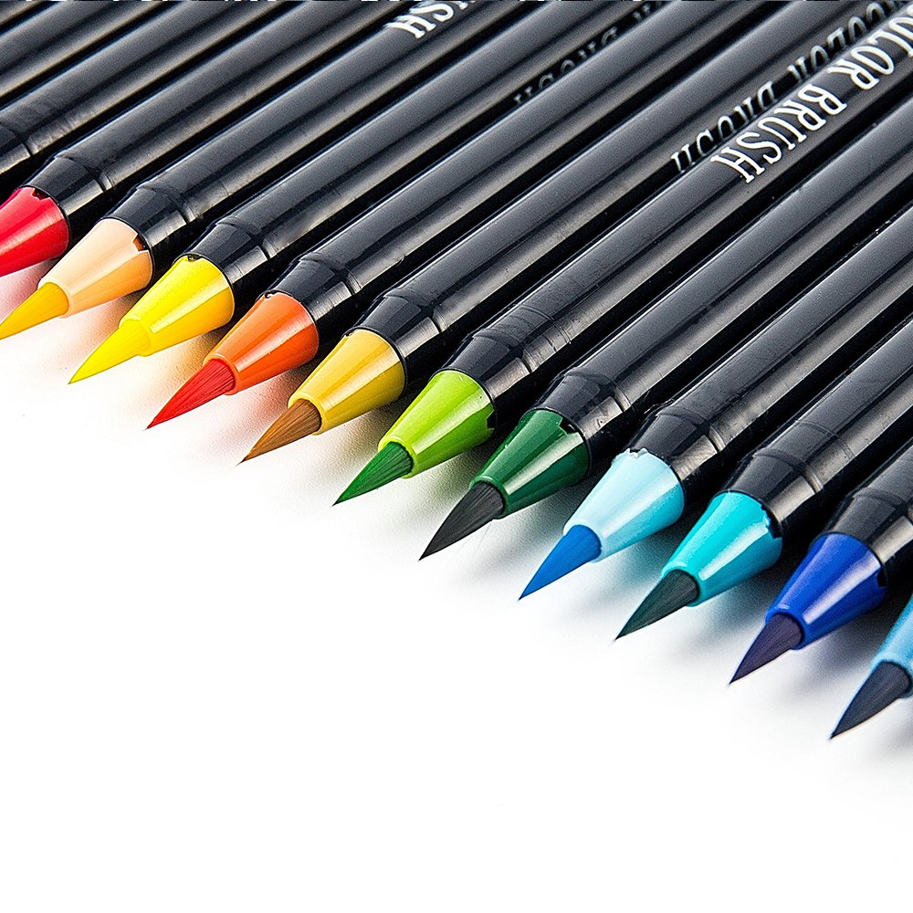 20 Cololi Set Pennarelli Brush Pen Con Punta Adatti Alla Calligrafia Inchiostri Colorati Ottimi per Manga Fumetti Creare Effetti Acquerellati