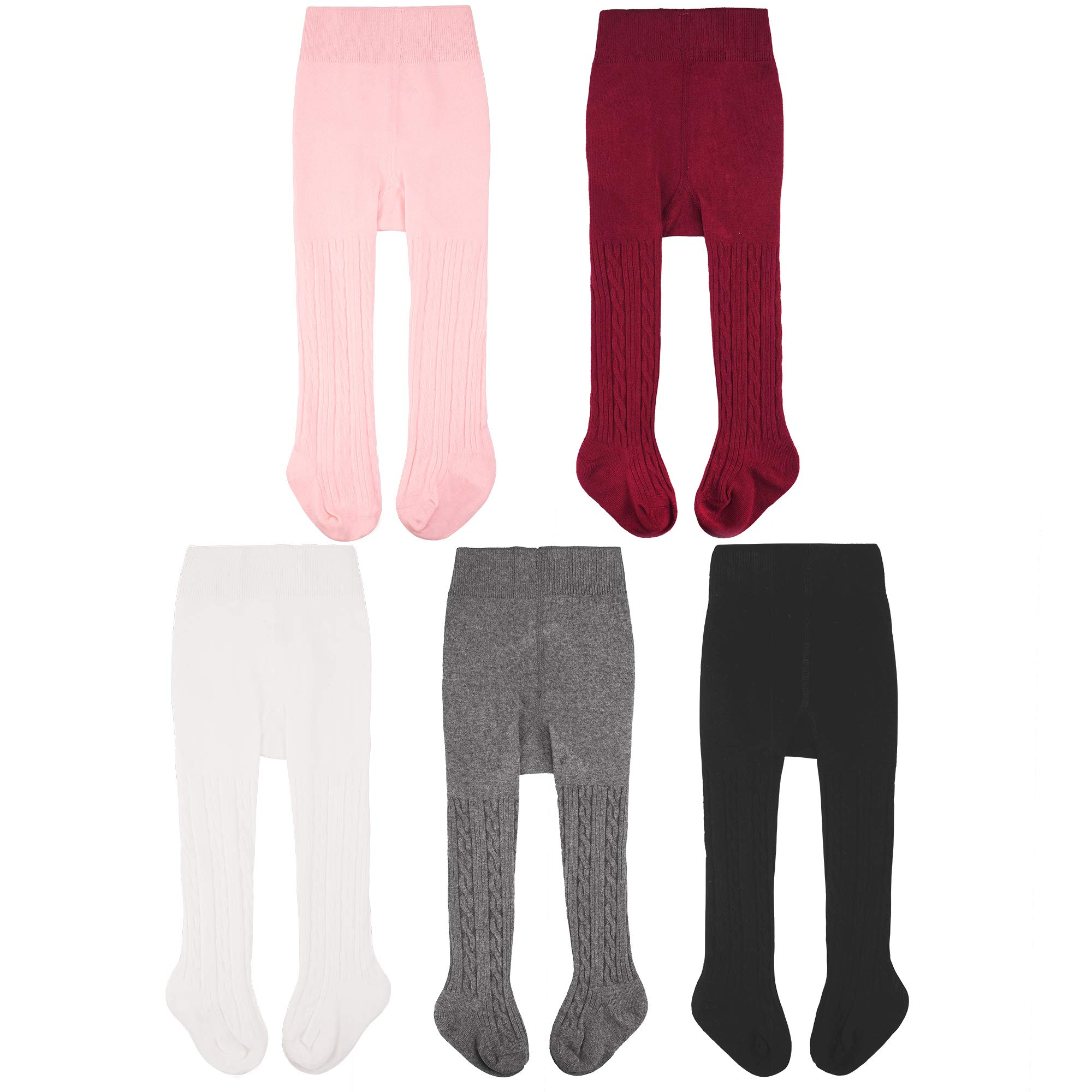 CozyWay Baby Girls Tights Cable Knit Cotton 3/5 Pack Leggings Pantyhose Infants Toddlers