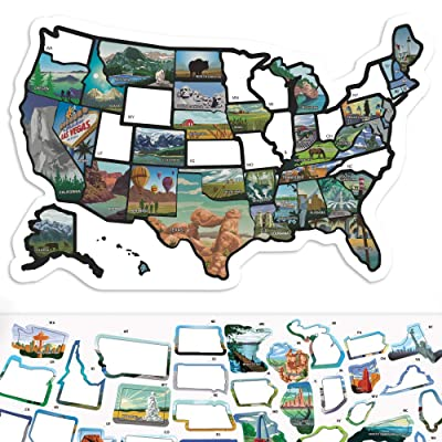 """RV State Sticker Travel Map - 11"""" x 17"""" - USA States Visited Decal - United States License Plate Non Magnet Road Trip Window Stickers - Trailer Supplies & Accessories - Exterior or Interior Motorhome: Automotive"""