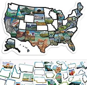 "RV State Sticker Travel Map - 11"" x 17"" - USA States Visited Decal - United States License Plate Non Magnet Road Trip Window Stickers - Trailer Supplies & Accessories - Exterior or Interior Motorhome"