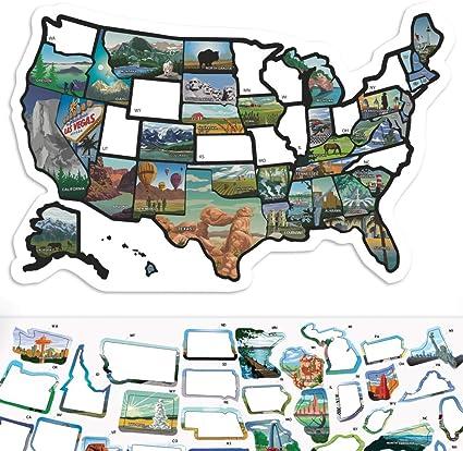 Us States Travel Map Amazon.com: RV State Sticker Travel Map   11