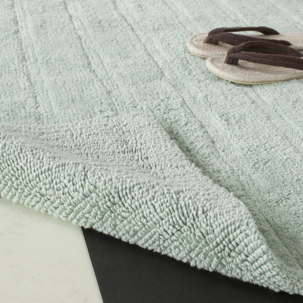 Safavieh Plush Master Bath Collection PMB720A Handmade Aqua Cotton Bath Mat, 2 feet 6 inches by 6 feet (2'6'' x 6') (Set of 2) by Safavieh (Image #1)