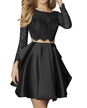 AngelaLove Womens 2017 Lace Two Piece Short Homecoming Dresses Long Sleeve Short Cocktail Prom Dresses