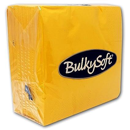 Bulkysoft Paper Serviettes Soft Napkins 33x33cm 2PLY Solid Colours Choose Colours Yellow, 100