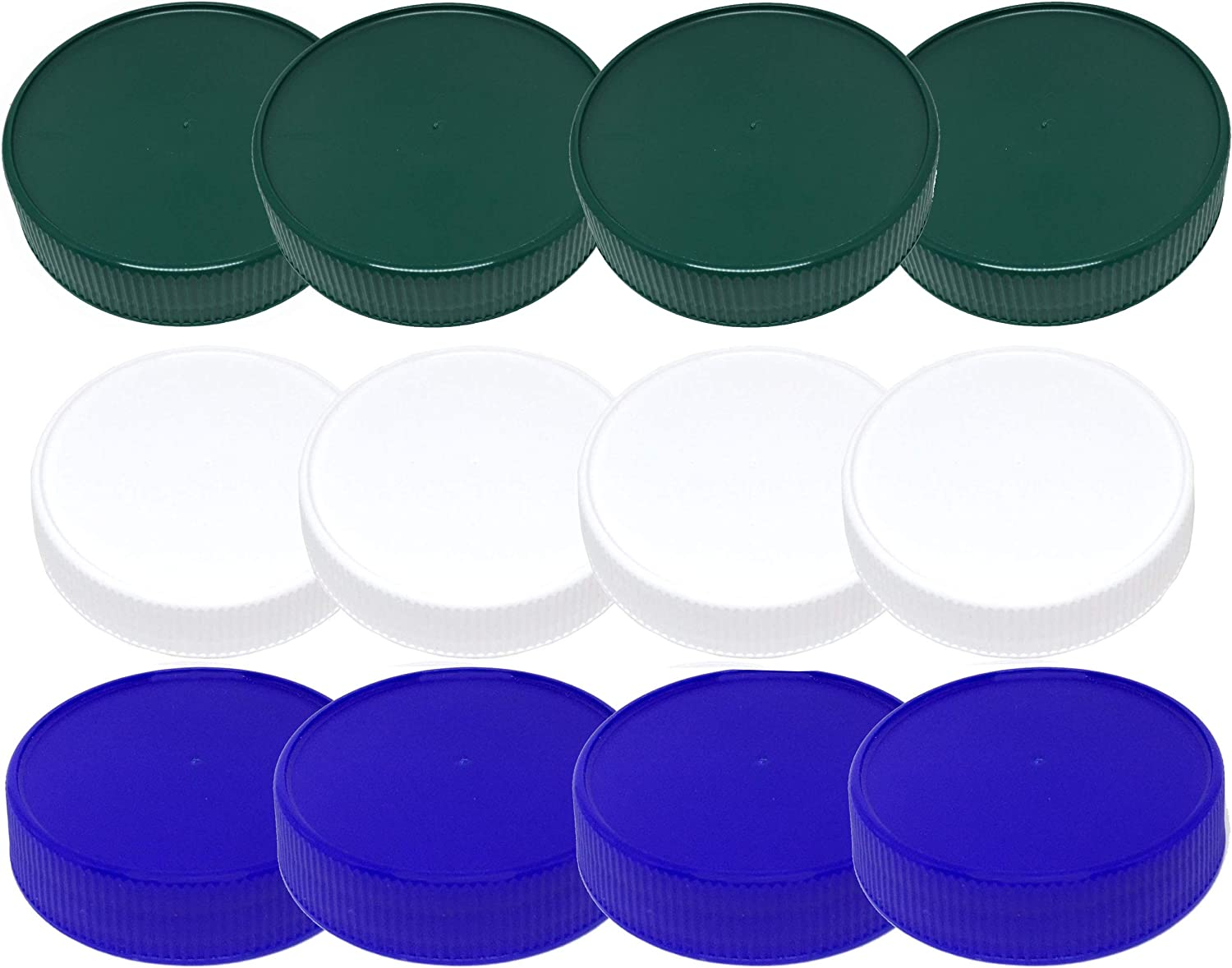 green BPA Free Plastic Mason Jar Lids - by Jarming Collections Regular Mouth Mason Jar Lids Set of 12 Reusable Leak Proof Caps are Made in the USA