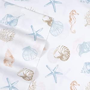 1500 Supreme Kids Bed Sheet Collection - Fun Colorful and Comfortable Boys and Girls Toddler Sheet Sets - Deep Pocket Wrinkle Free Hypoallergenic Soft and Cozy Bedding - Twin, Seashells