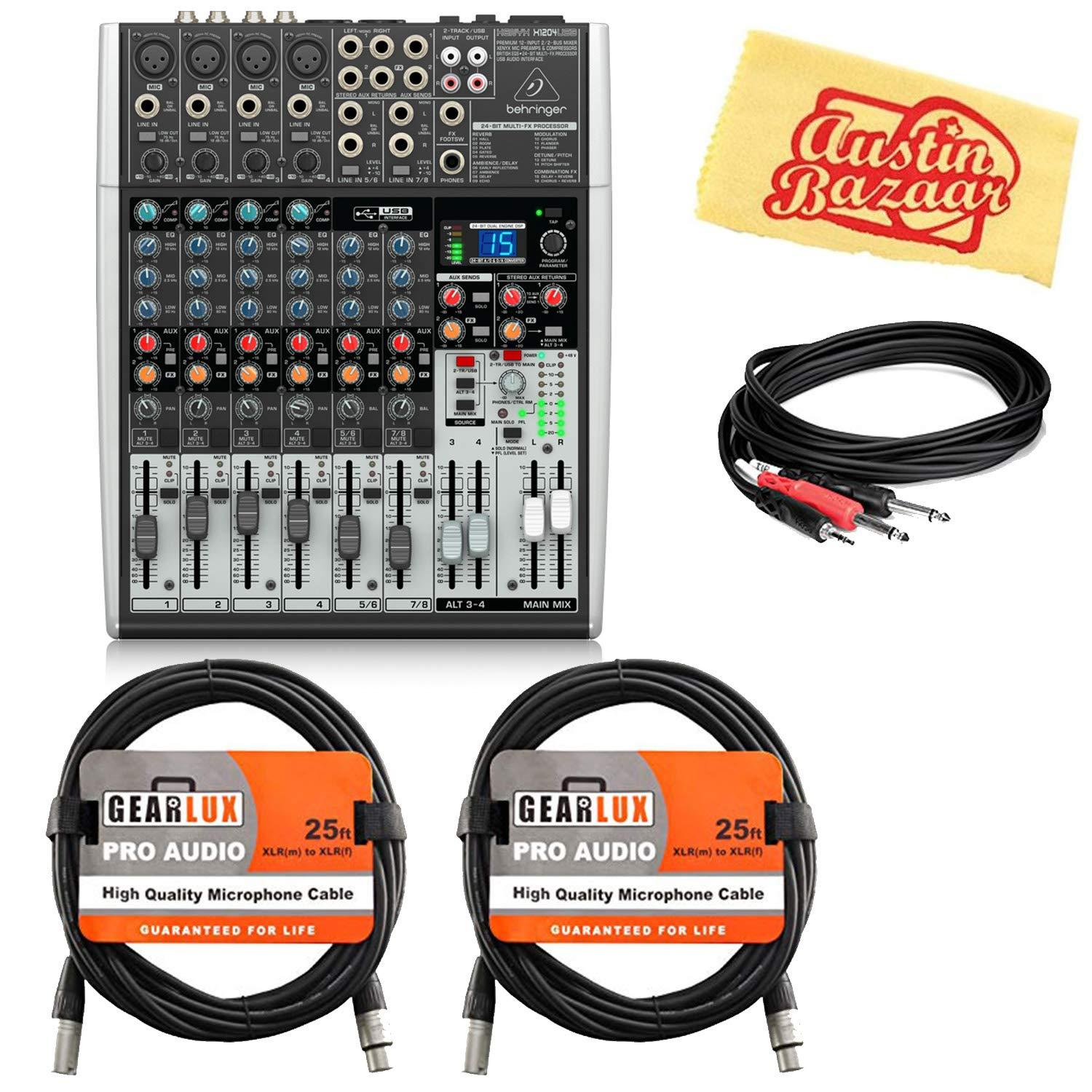 Behringer Xenyx X1204USB Premium 12-Input 2/2-Bus Mixer Bundle with XLR Cables, Stereo Breakout Cable, and Austin Bazaar Polishing Cloth