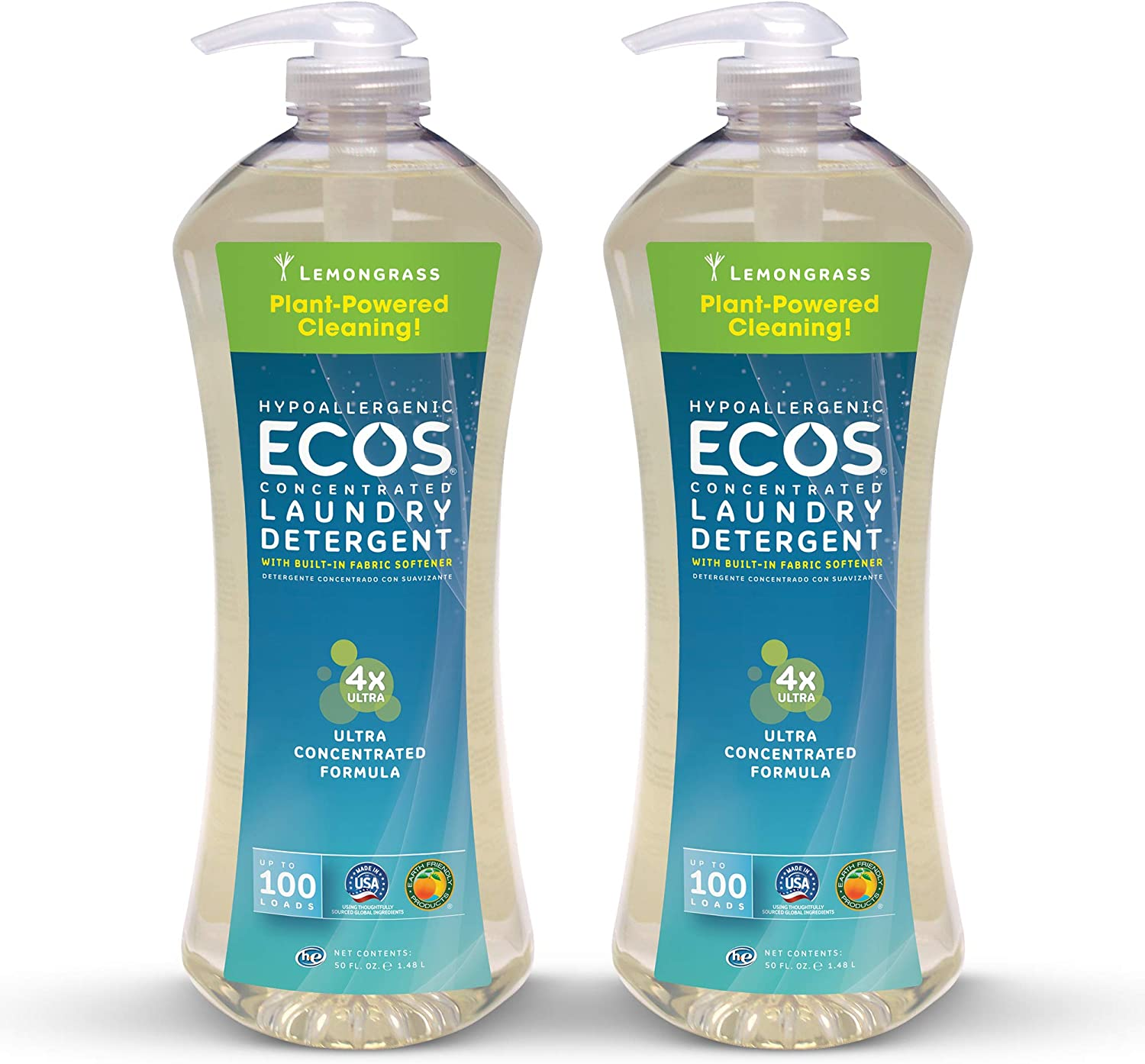 Earth Friendly Products Ecos 4X Ultra Concentrated Liquid Laundry Detergent, 200 Loads, 2 x 50 oz Lemongrass (2Count)