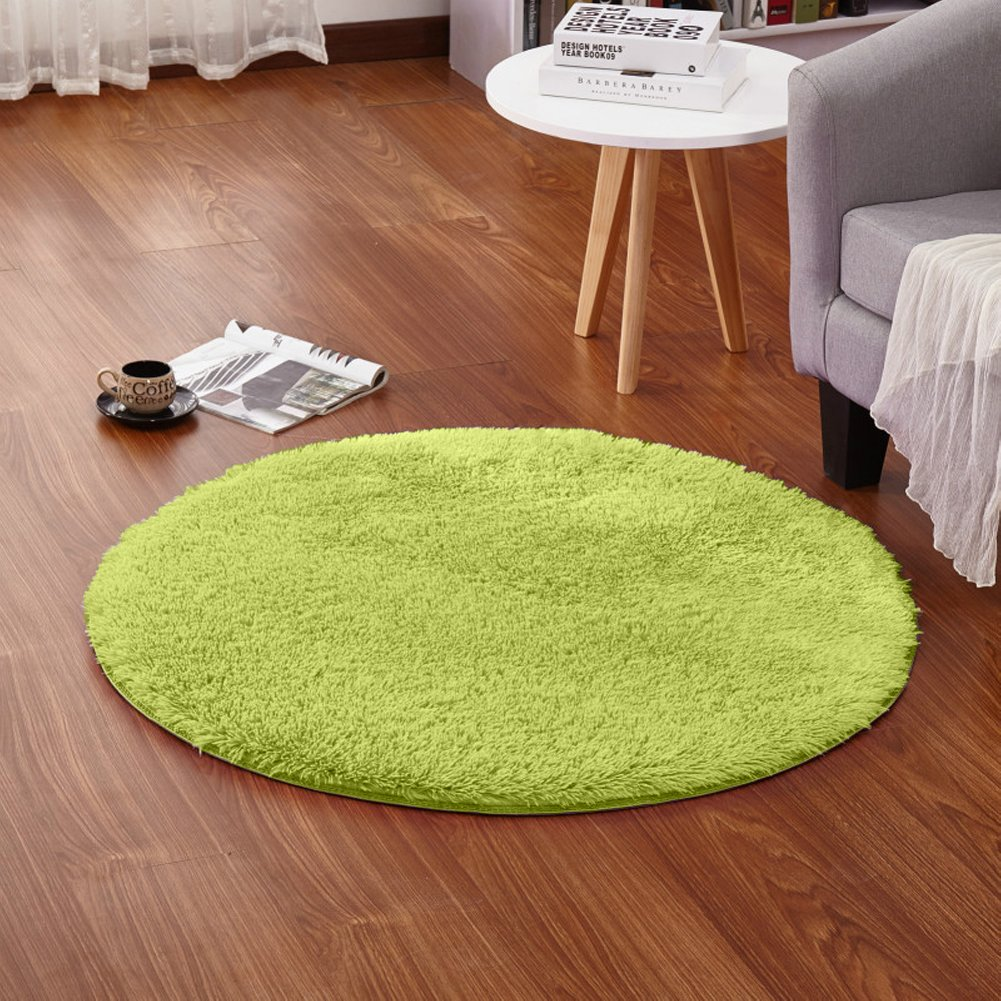LOCHAS Round Area Rugs Super Soft Living Room Bedroom Home Shaggy Carpet 4-Feet (Green) by LOCHAS