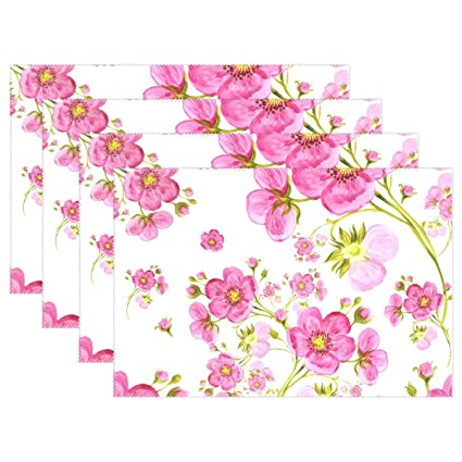 Amazon My Daily Watercolor Spring Flowers Placemats For Dining