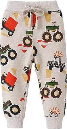 Janly Clearance Sale Pantalones para niños, pantalones deportivos con diseño de dinosaurios y animales, con cordón elástico
