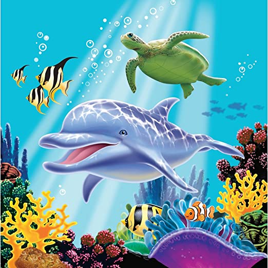 Creative Converting Ocean Party 16 Count 3-Ply Paper Lunch Napkins 463278