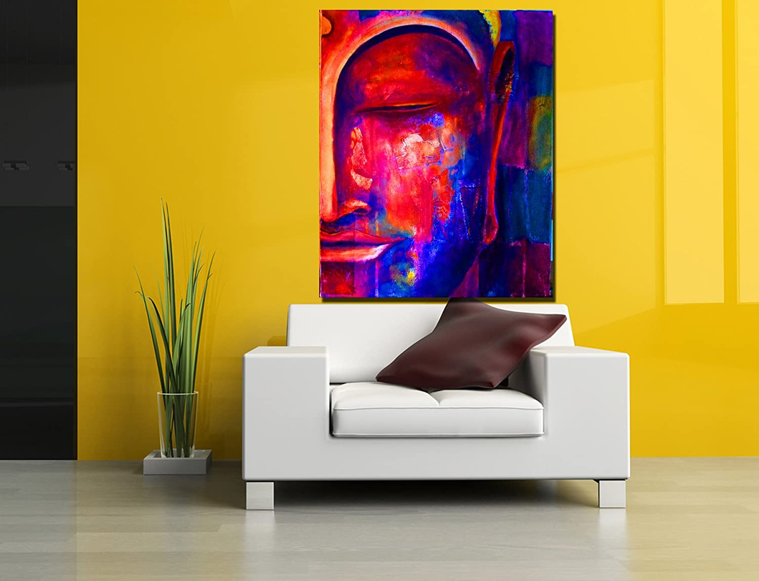 Big Size Canvas Abstract colorful Buddha Art Digital Print, Portrait ...