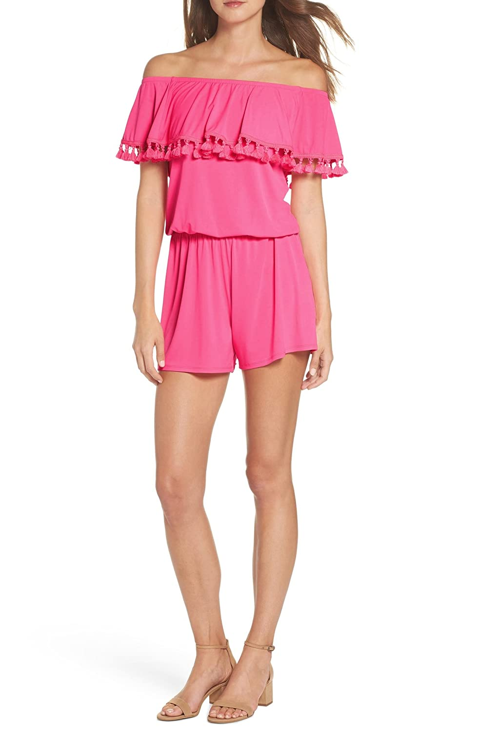 ef7ccc09525c Amazon.com  Lilly Pulitzer La Fortuna Off The Shoulder Romper (Small)   Clothing