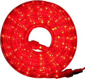 """Flexilight LED Rope Light 110V - 120V 2-Wire 1/2"""" Diameter Extendable Indoor Outdoor Home Decoration Christmas Party Parade Fence Cove Lighting Accent Lighting (Red, 30Ft)"""