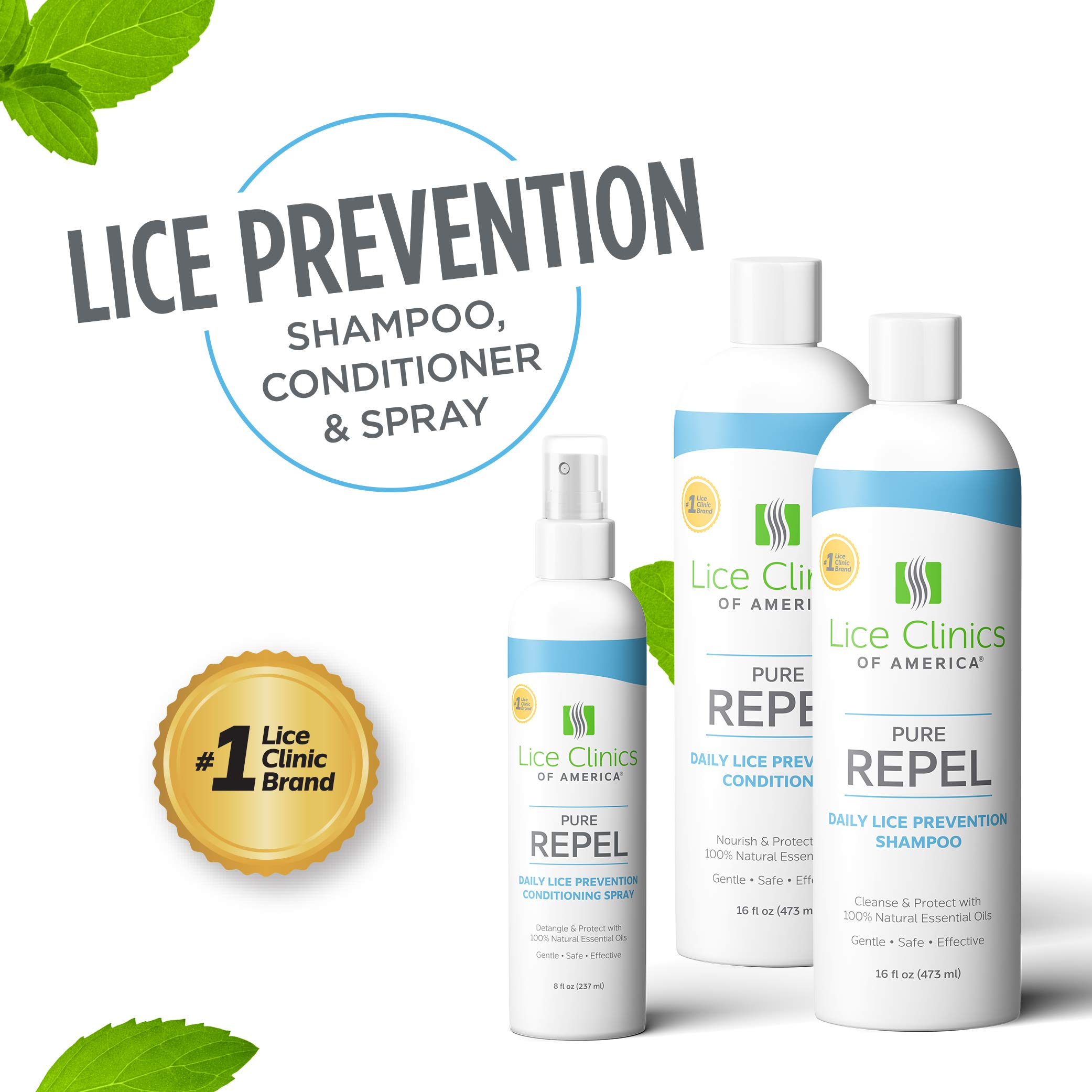 Lice Clinics of America Daily Lice Prevention Shampoo, Conditioner, and Conditioning Spray Kit - Repel Lice with 100% Natural Essential Oils (3 Pack)