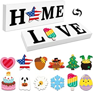 Zingoetrie Interchangeable Home Sign Love Sign Double Side Printed Wooden Family Signs for Home Decor Seasonal Decoration Rustic Farmhouse Holiday Decorative Sign