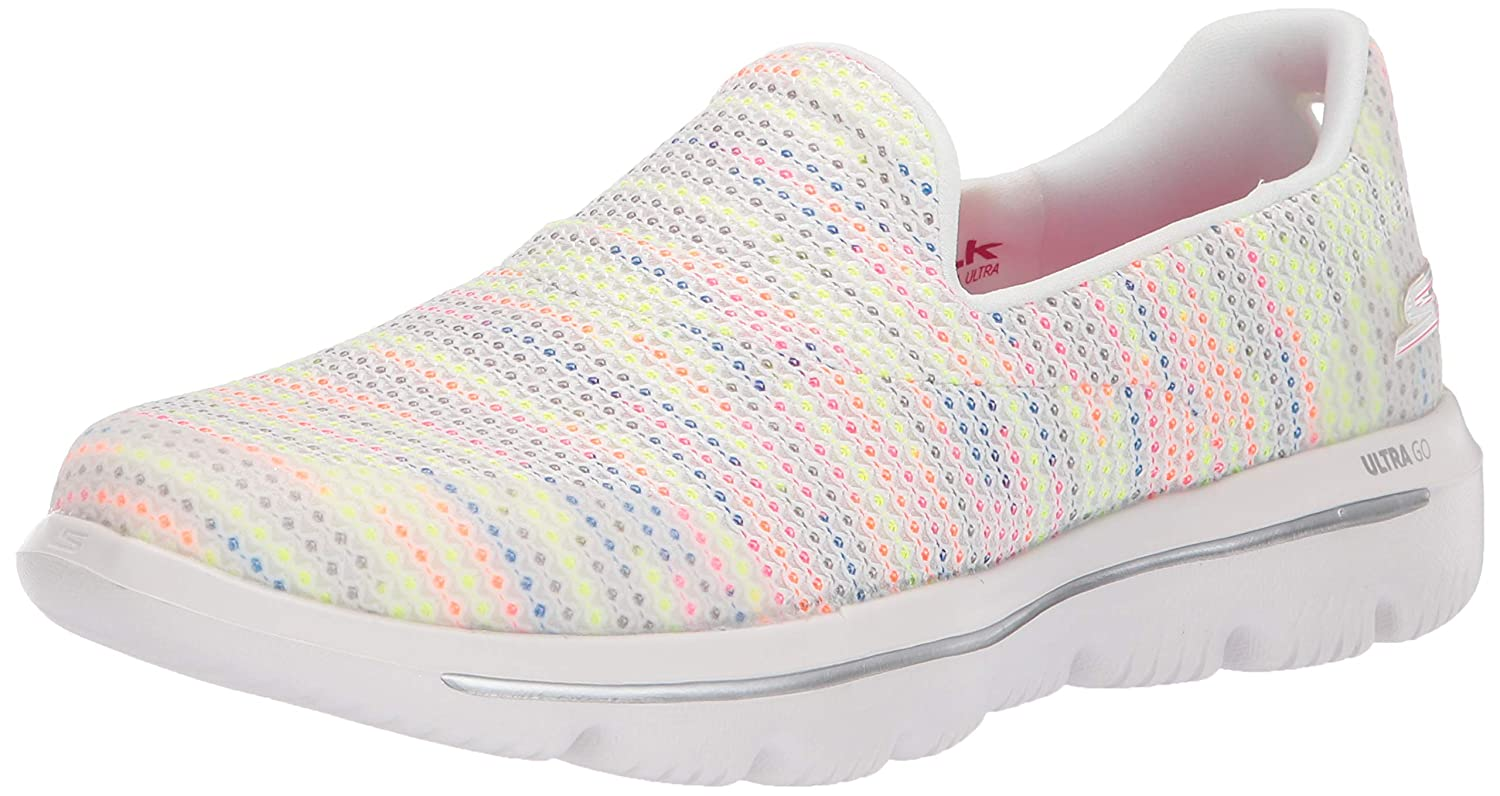 White Multi Skechers Womens Go Walk Evolution Ultra - Gladden Sneaker
