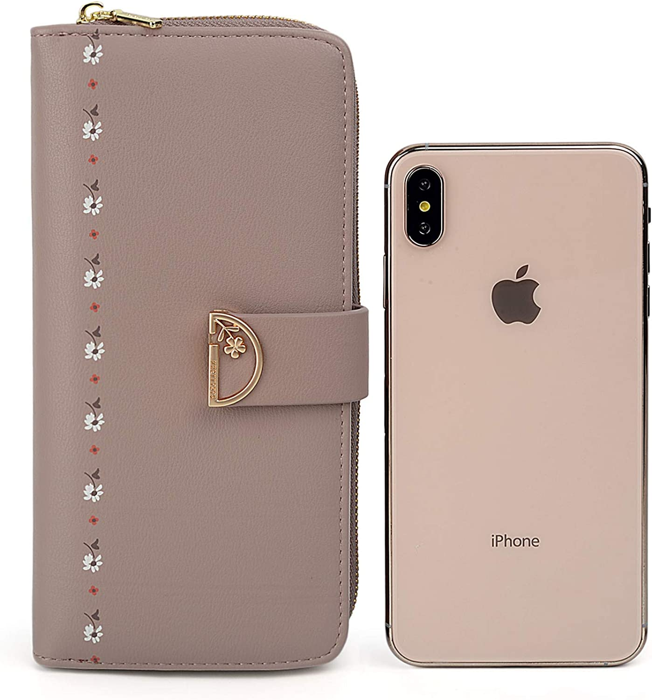 Women Zip Around Wallet PU Leather UTO Card Phone Holder Checkbook Snap Clutch Purse 742 CA
