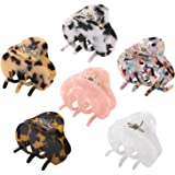 Hair Claw Clips for Women Girls, Funtopia 6 Pack 2.2 Inch Tortoise Barrettes Acrylic Hair Jaw Clips Clamp Celluloid Leopard P
