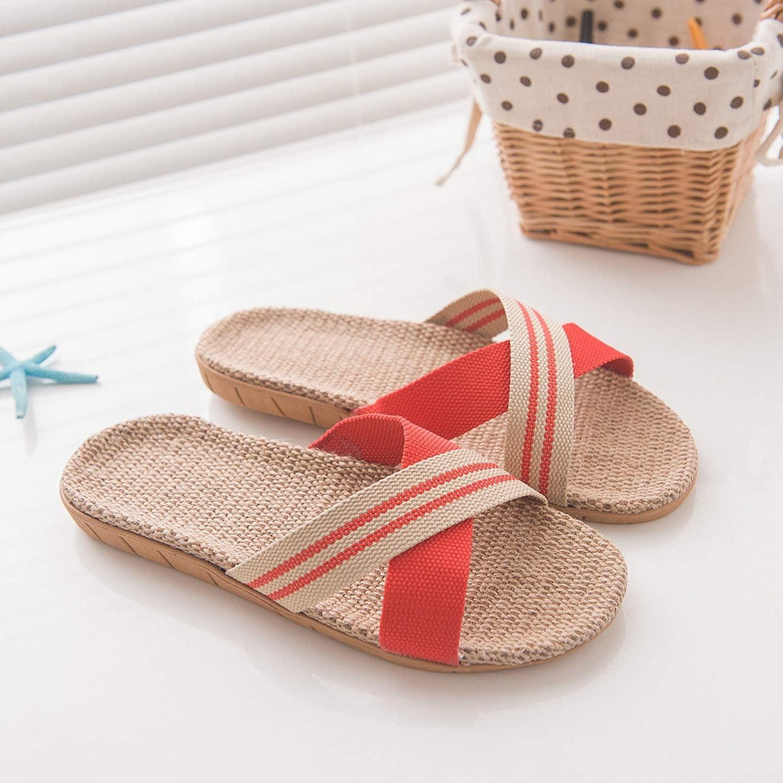 2019 Women Slippers Anti-Slip Linen Home Indoor Open Toe Flat Shoes Summer Women Beach Slides Casual 9031323,Purple,40,United States
