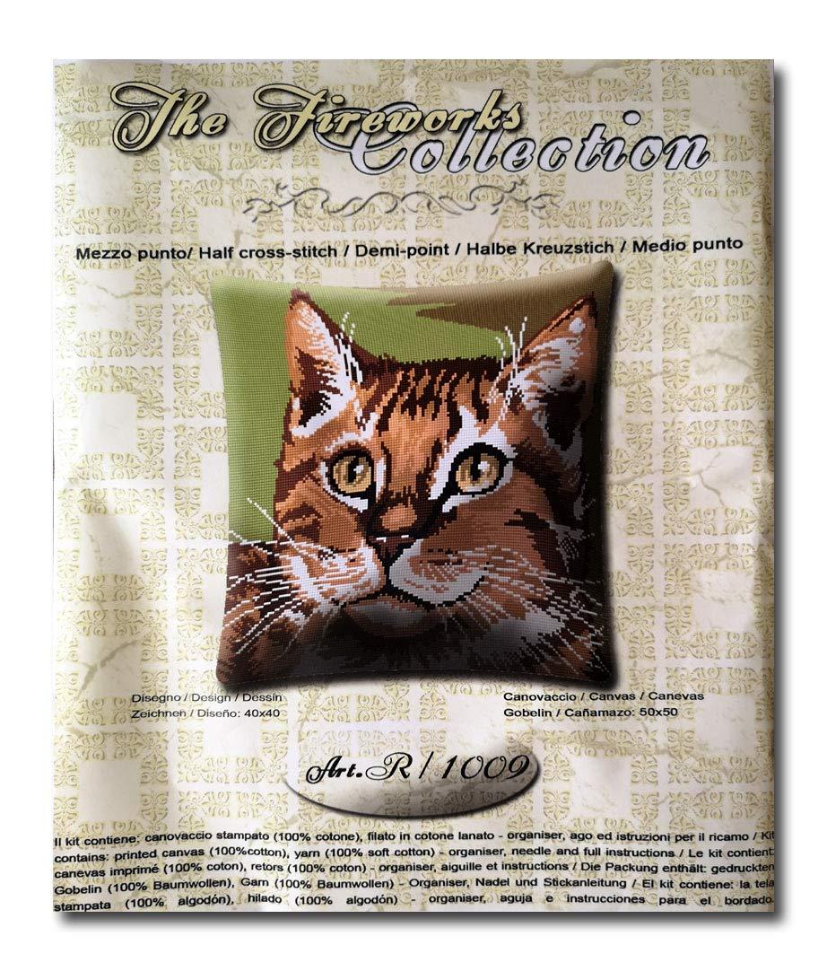 stafil Kit cojín de Medio Punto, cañamazo Impreso Gato 40x40 ...