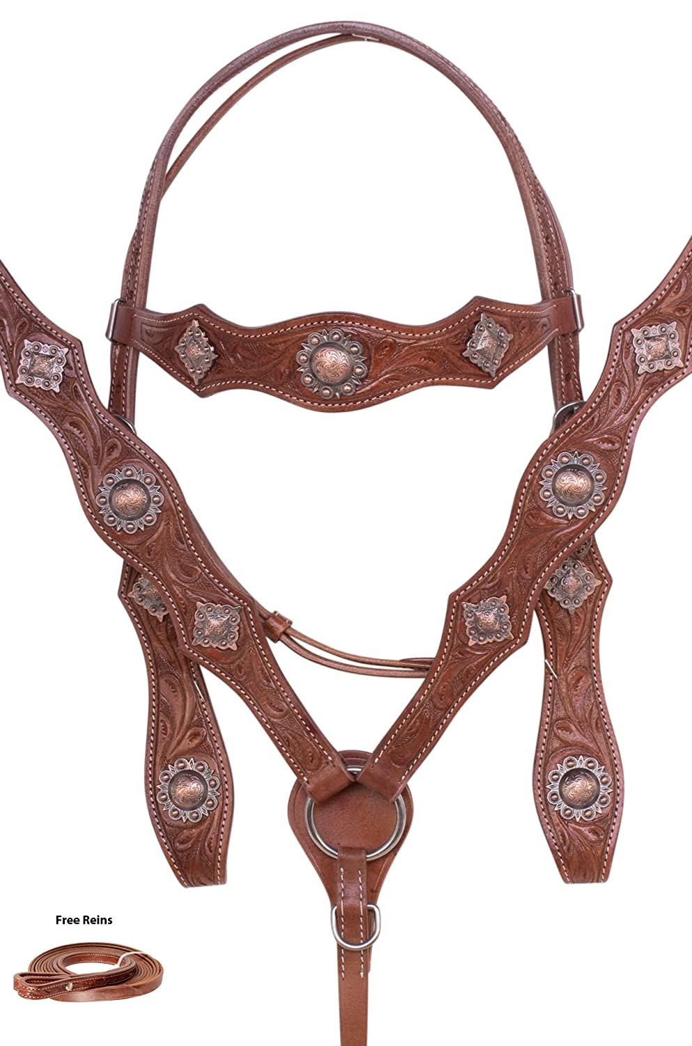 AceRugs Beautiful Western Chestnut Tooled Horse TACK Set Headstall REINS Breast Collar Antique Conchos