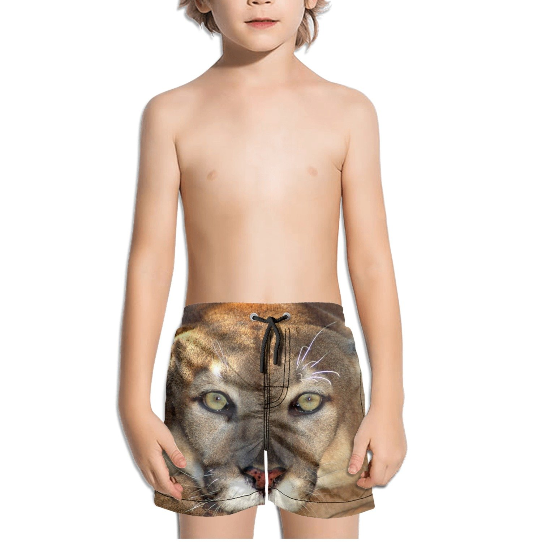 Cougar Head Kids Boys Fast Drying Beach Swim Trunks Pants
