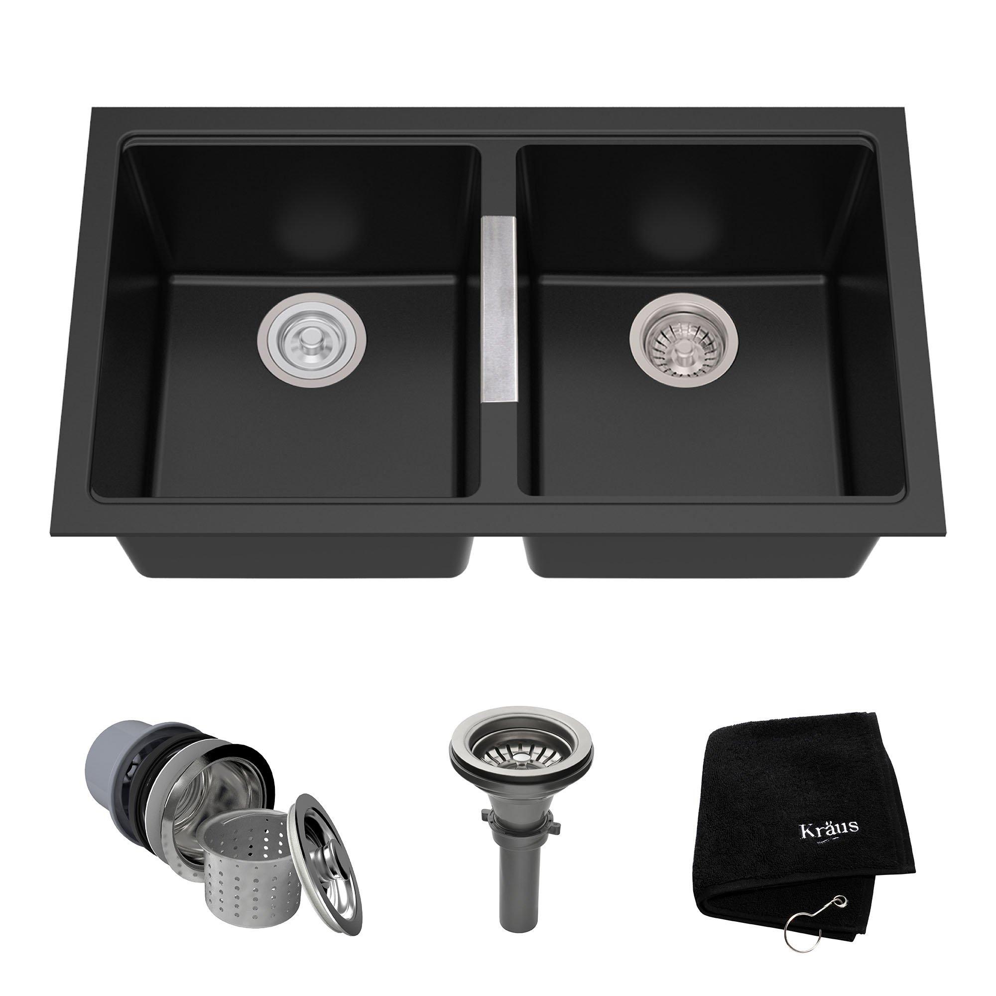Kraus KGU-434B 33 inch Undermount 50/50 Double Bowl Black Onyx Granite Kitchen Sink by Kraus