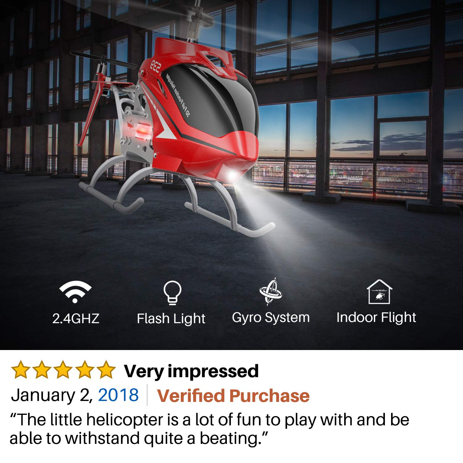 SYMA RC Helicopter, S39 Aircraft with 3.5 Channel,Bigger Size, Sturdy Alloy Material, Gyro Stabilizer and High &Low Speed, Multi-Protection Drone for Kids and Beginners to Play Indoor-Red by SYMA (Image #2)