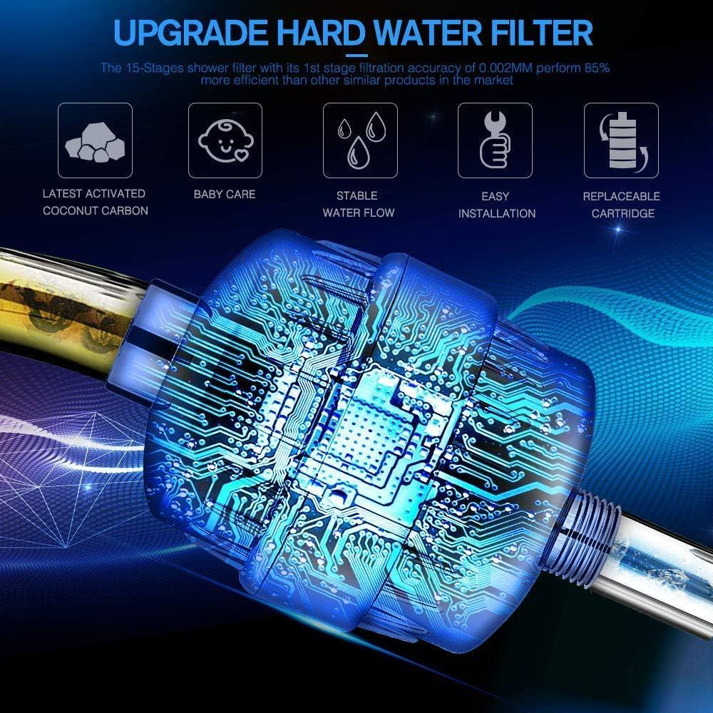 mit Extra-Ersatz Filter Kartusche/&Teflonband entfernen Chlor,Schwermetalle,Wasser erweichen 17-Schichten Duschfilter Shower Filter Duschfilter Shower Filter Universal Duschfilter