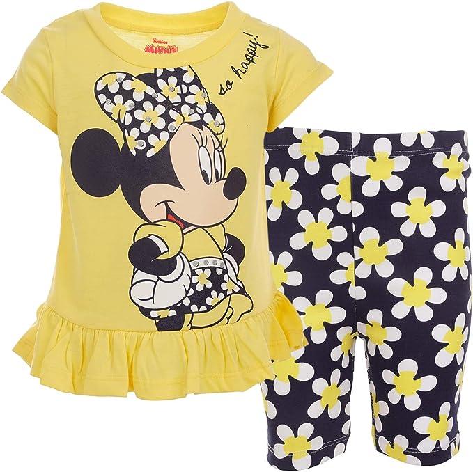 Disney Minnie Mouse Short Sleeve T-Shirt Bike Shorts and Scrunchie Set