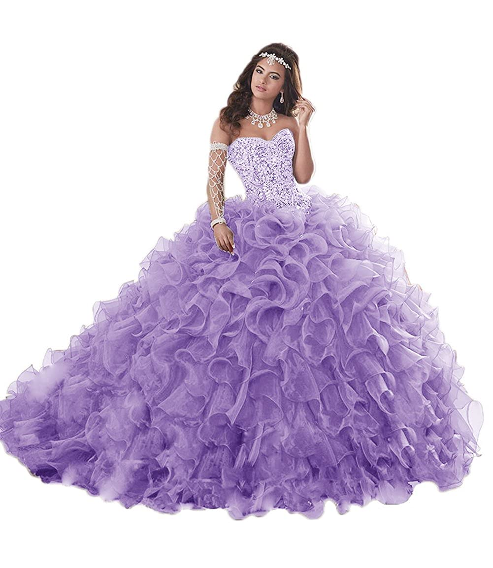 Lavender APXPF Women's Heavy Beaded Organza Ruffle Quinceanera Dresses for Sweet 16 Prom Ball Gowns