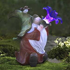 Garden Gnome Statue - Resin Gnome Figurine Playing Flower-Trumpet with Solar LED Lights, Outdoor Summer Decoration for Patio Yard Lawn, Ornament Gifts for Mom